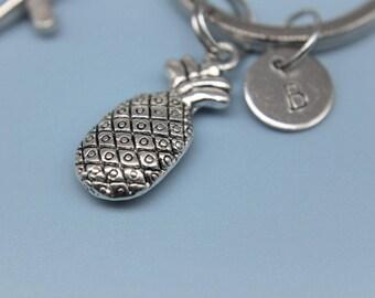 Foodie Gift Pineapple Charm Keychain Pineapple Keyring Pineapple Jewelry Pineapple Gift Fruit Keychain Personalized Keychai Initial Charm