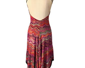 Hot Pink Gold Zigzag; Reversible Tango Dress; Fishtail Tango Dress; Milonga Dress