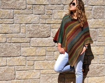 Knit Ponchos | Knitted Poncho | Women Ponchos | Wool Poncho | Hand Knitted Poncho | Boho Poncho | Birthday Gift For Girlfriend Ideas