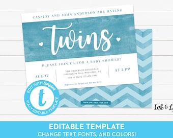 Twin Boy Baby Shower Invitation - Twin Shower Invitation - Digital Shower Invitation - Printable Invitation - Invitation for Twin Boys