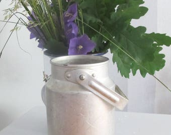Small Aluminium Milk Can, Soviet Vintage Container, Rustic Home Decor, Farmhouse Decor