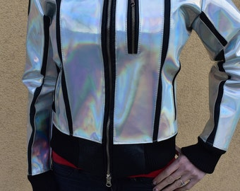 Hologram leather jacket / Holorafic leather jacket/ Retro jacket/ Disco jacket