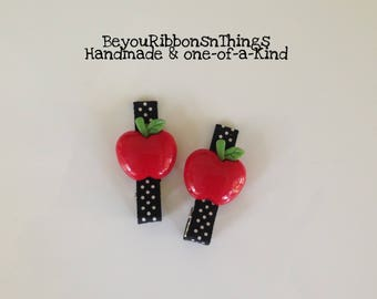 Red Apples | Black w/White Dots | Hair Clips for Girls | Toddler Barrette | Kids Hair Accessories | No Slip Grip