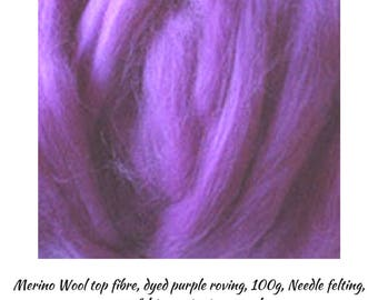 Purple Merino Wool is a Great Fibre for Top Quality Roving Projects,Needle felting, Wet felting,  One Only,Great Prices, DETASH