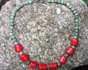 Vintage Red Coral Turquoise Sterling Necklace