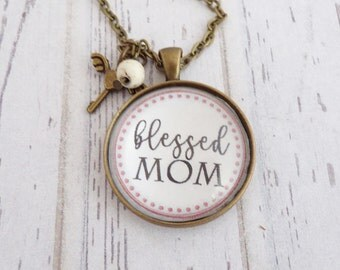 Blessed Mom Necklace With Charms, Inspirational Quote, Encouragement, Mom Gift, I Love You, Pendant with Words, New Baby Gift
