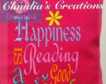Happiness is Reading Poppy Inspired Subway Embroidery Saying