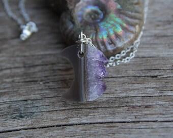 Silver Amethyst Moon Necklace / Raw Crystal Necklace