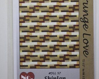 "Shiplap, 10 grunge fabrics:  72.5"" x 84.5.""  Quilt pattern."