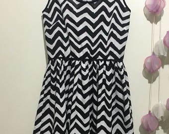 Black and White Zig Zag Party Summer Dress