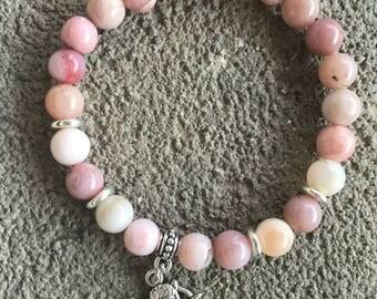 Bracelet énergétisé Opal pink Peruvian grade A, Angel pendant Cupid