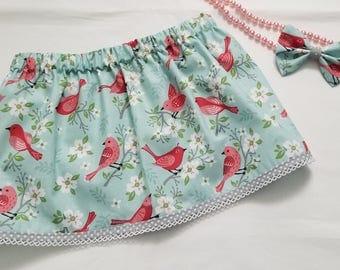 Floral Toddler Skirt/Spring Skirt/Matching Bow