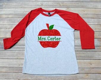 SALE!! Teacher Shirt, Monogrammed Apple Raglan Shirt, Back to School, Teacher Gift,  Teacher Christmas Gift, Teacher Monogram