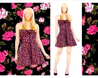 Betsey Johnson Pink/Black Roses Zipper Front Strapless Sweetheart Pockets Fit-Flare Sundress M