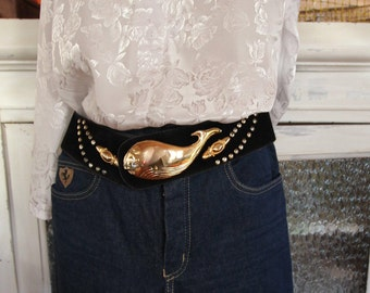 Vintage black faux leather applique whale and nails in golden metal belt / / Vintage Whale Belt