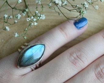 Labradorite Ring, Sterling Silver Ring, Boho Ring, Size 8 Labradorite, Handmade Jewelry, Gemstone Ring, Gift for women, Blue silver ring
