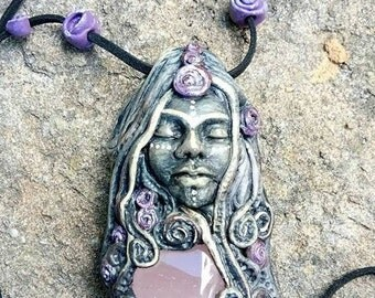 Goddess necklace with Rose Quartz