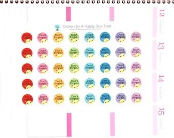 Happy Don't Forget Reminder Stickers for Erin Condren Life Planner ECLP Mambi Kate Spade Kikkik Midori Personal Kawaii Cute Errands Shopping