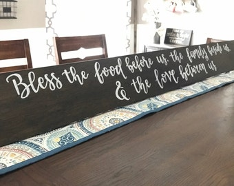 Bless the food before us, the family beside us, dining room decor, Long wood sign, farmhouse decor, farmhouse sign, long wooden sign, 36, 48