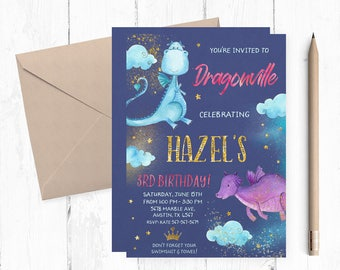 Dragons Invitations, Dragon Invitation, Magic Invitations, Dragons Birthday Invitations, Dragons Birthday Invites, Dragons Invites, Party,