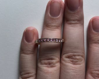 Vintage Thin Wave Pink Cubic Zirconia Half Eternity Gold-Tone 925 Sterling Silver Band Ring