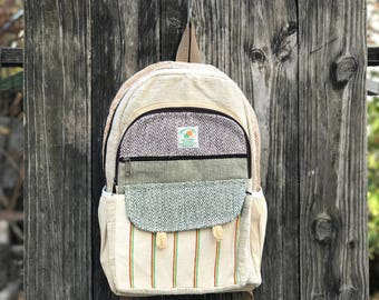Pure Hemp Handmade Flap-backpack, Laptop Compartment