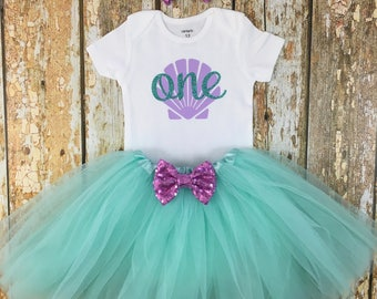 Mermaid Birthday Outfit, First Birthday Outfit, Birthday Tutu Outfit, Mermaid Party, One, Cake Smash Outfit, Birthday Girl, One Outfit