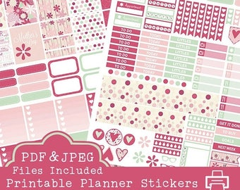 40% off SALE Mother's Day Printable Planner Stickers, Erin Condren Printable Planner Stickers, Weekly Planner Stickers