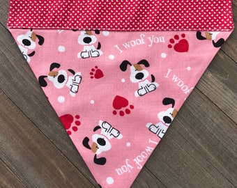 "Pink ""I Woof You"" Reversible Dog Valentine's Day Bandana, Valentine's Day Reversible Slide-On Dog Bandana"