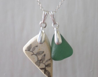 Dainty Duo of Beach Pottery and Sea Glass Sterling Silver Necklace, Beach Glass, Seaglass, Beach Jewelry, Seaglass Pendant, Teal, Leaf