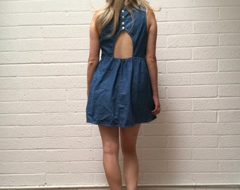 Vintage Cut Out Backless Denim Skater Dress - Short 90's Blue Jean Sundress - Adorable Denim Fit and Flame Dress - Medium