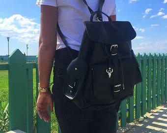 Black Leather Backpack Women, College Bag, Leather Rucksack, Made in Greece from Full Grain Leather, LARGE.