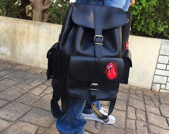 Knapsack Men, Leather Backpack Men, Sportsbag, Made in Greece from Full Grain Leather, EXTRA LARGE.