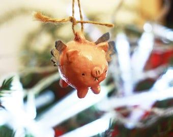 Flying Pig Ornament/ Christmas Pig Ornament/ Xmas Decoration/ Flying Pig Sculpture/ Ceramic Christmas Decoration/ Angel Christmas Ornament