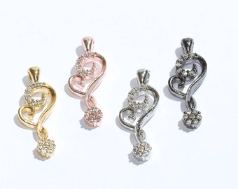 Pave Hear Charm,CZ Heart Pendant, Micro Pave Heart Pendant, Heart , Charm, Pendant, Zirconia Heart Pendant, Heart Necklace,SKU/ZRC66