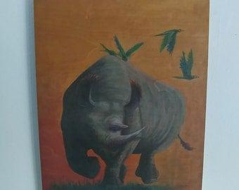 Rhino Tribute print on Birch wood panel