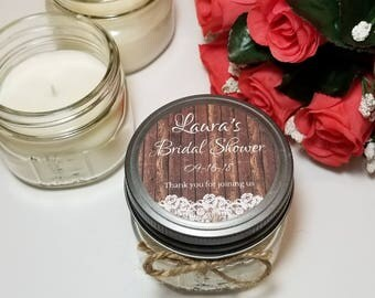 12 - 4 oz Bridal Shower Favors - Bridal Shower Candles - Bridal Guest Gifts - Rustic Wedding - Rustic Favor - Mason Jar Favor - Lace Favor