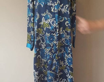 M / Colorful Caftan / Robe / Blue Paisley / Zipper Front / Medium