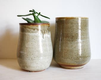 Gold and Brown Speckled Ceramic Planters / Vases