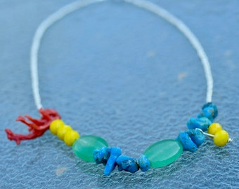 Necklace Turquoise and Coral Asymmetry the 2nd