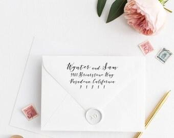 Custom Return Address Stamp, Self Ink Return Address Stamp, Personalized Address Stamp, Calligraphy Address Stamp Return Address Stamp No77