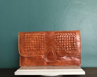 Leather Boho Clutch. Fold Over Clutch. Boho Clutch. Bohemian Clutch. Ethnic Clutch Bag. Leather Envelope Clutch. Leather Clutch Purse