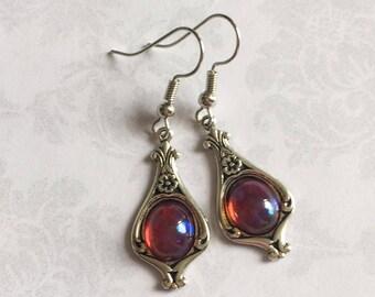 Fire Opal Earrings Silver, Fire Opal Earrings, Fire Opal Jewelry, Steampunk Earrings, Silver Earrings, Silver Victorian Earrings