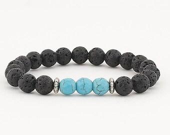 Lava bead bracelet, essential oil diffuser bracelet, lava bead, diffuser bracelet, stretch bead bracelet, turquoise, essential oils,bracelet