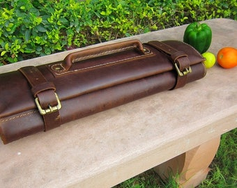Genuine Leather Royal Brown Knife Roll, Knife Bag, Chef Knife Bag, Chefs Roll, Chef Bag, Knife Roll Bag, Personalized Knife Roll, Tool Roll