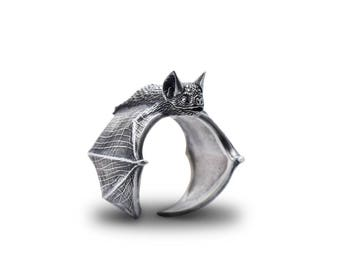 Bat Ring Silver Classic Bat Ring Bat Flight Bat Jewelry Silver Bat Wing Jewelry Halloween Ring Halloween Jewelry Vampire  Wing Ring Bat Art