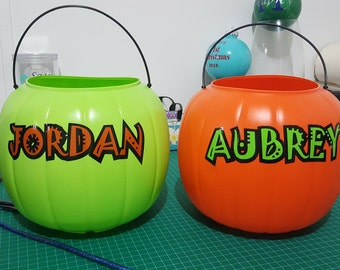 Personalized Name Halloween Trick-or-Treat Candy Buckets