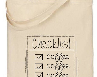 Coffee Tote Bag / travel bag / over night bag / errand bag / coffee lover
