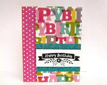 birthday card, birthday cards, happy birthday cards, girls birthday card, greeting card, glitter birthday cards, pink birthday card, cards