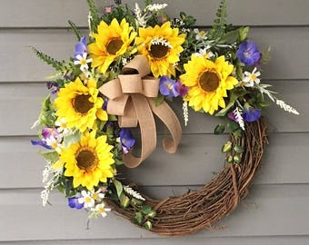Spring Wreath for Front Door, Sunflower Wreath, Sunflower Front Door Wreath, Country Wreath, Farmhouse Wreath, Morning Glory Wreath